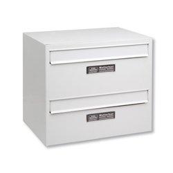 boîte aux lettres duo modulaire en acier blanc avec porte arrière pour construire des groupes